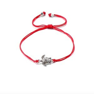 Jewelry - Red Kabbalah Rope Silver Sea Turtle Charm Bracelet